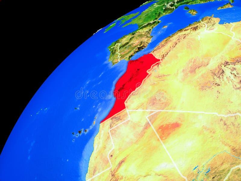 Marokko ter wereld van ruimte stock illustratie