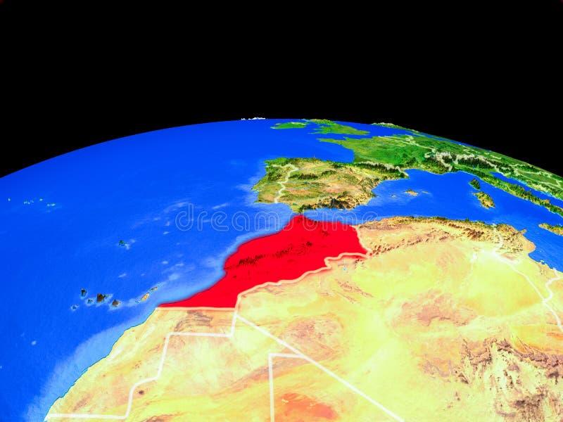 Marokko van ruimte ter wereld vector illustratie