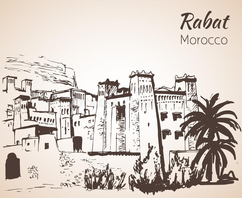 Maroko attracrions - Telouet nakreślenie