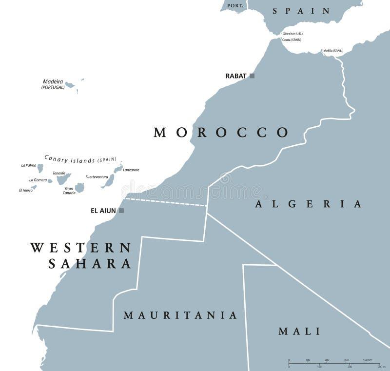 Maroko i westernu Sahara polityczna mapa royalty ilustracja