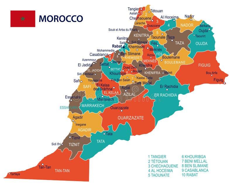 Maroko - mapa i flaga - ilustracja