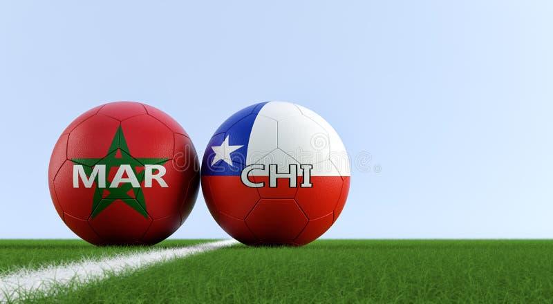Maroko Vs Chile mecz piłkarski - piłek nożnych piłki w Maroko i Chile krajowych kolorach na boisku do piłki nożnej ilustracja wektor
