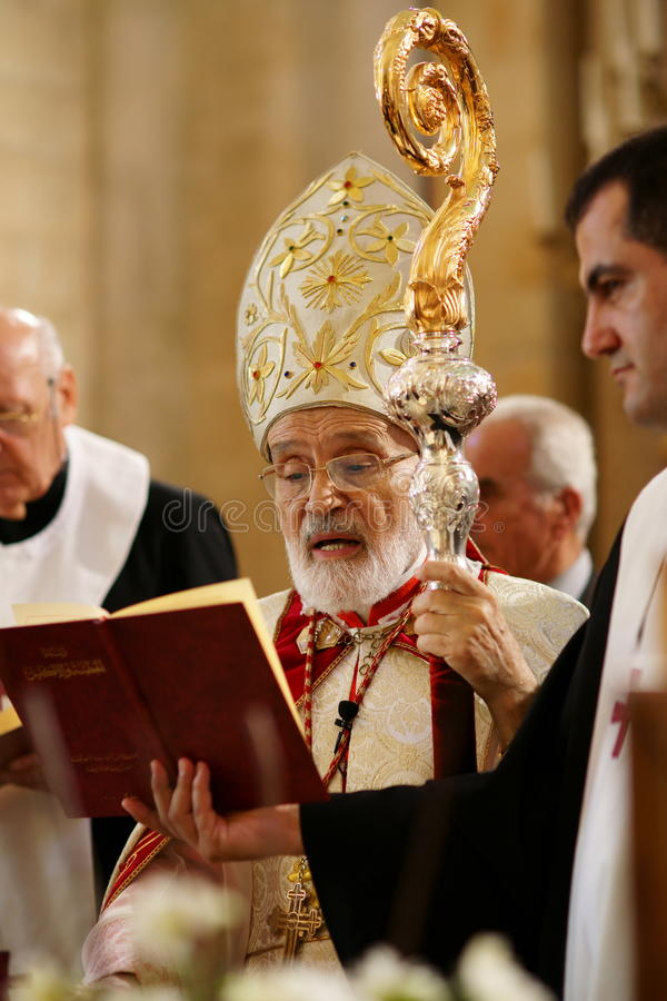 Maronite Patriarch and Cardinal Sfeir stock photos
