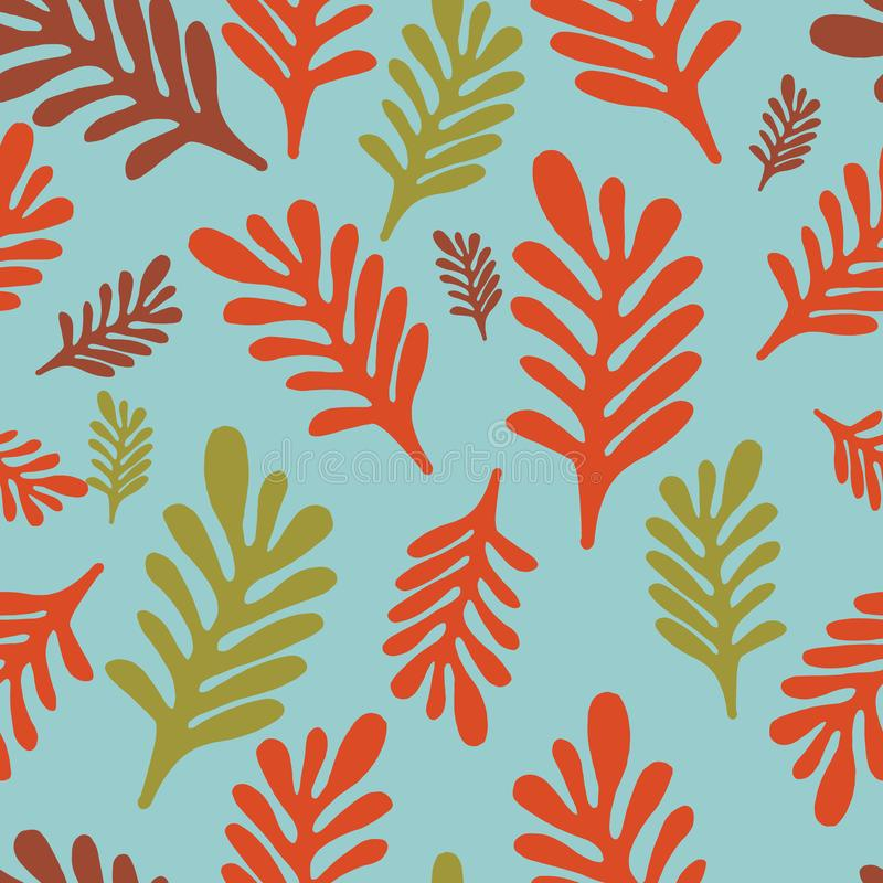 Maroon органического конспекта современный красный и листья мустарда на картине голубой предпосылки seameless иллюстрация штока