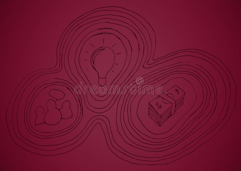 Maroon background with business doodle royalty free illustration