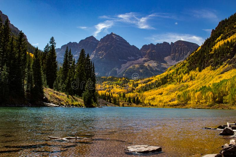 Maroon Bells in Aspen, Colorado royalty free stock photo