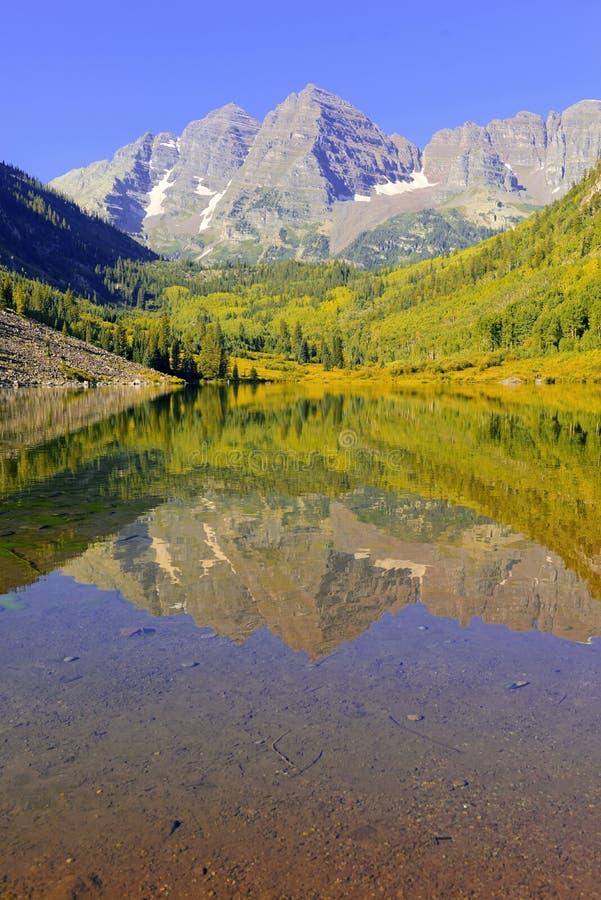 Maroon Bells, Elk Range, Rocky Mountains, Colorado stock photography