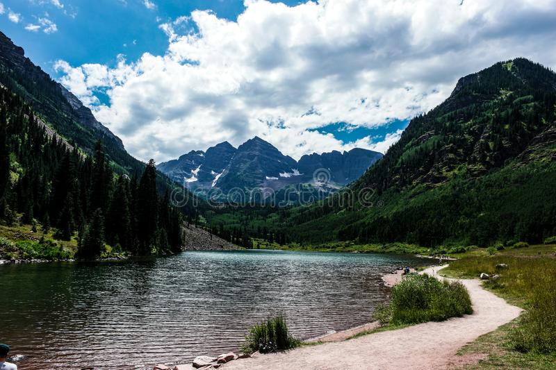 The Maroon Bells, iconic mountains of Colorado. The Maroon Bells mountains near Aspen, Colorado Rocky Mountains stock photography