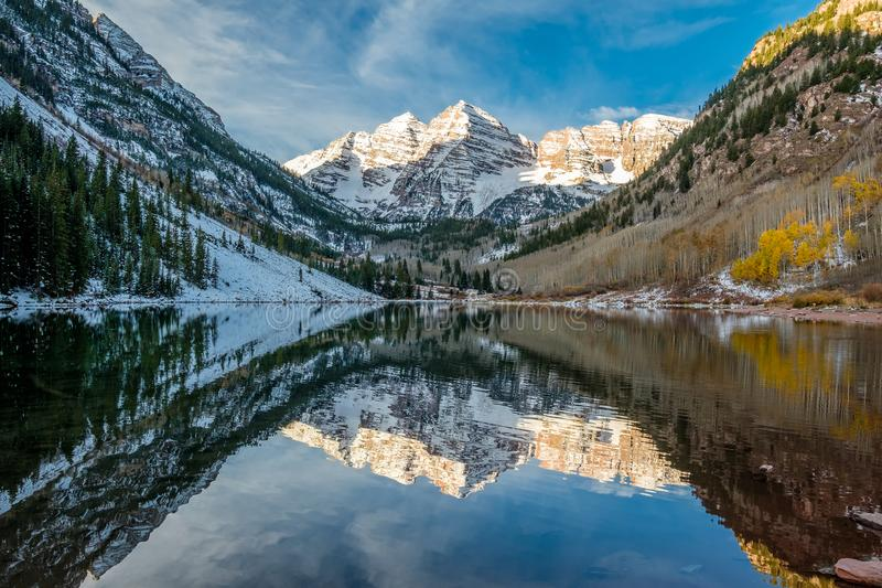 Maroon Bells and Maroon Lake landscape royalty free stock photography