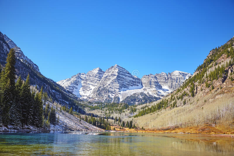 Maroon Bells mountain lake landscape, Colorado, USA. royalty free stock image