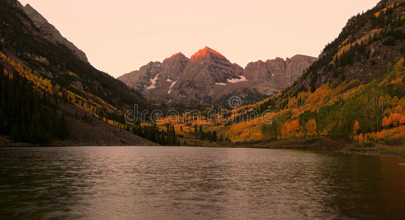 The Maroon bells in the Rocky Mountains royalty free stock photo