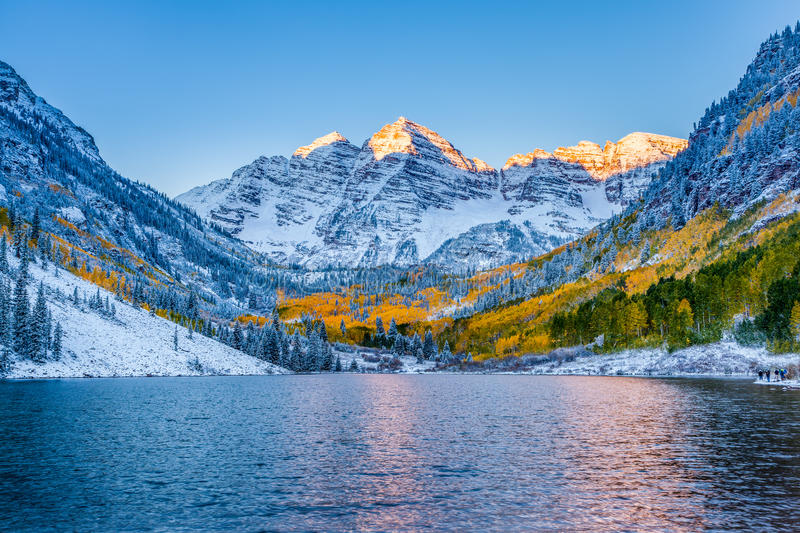Maroon bells at sunrise, Apen, CO.  royalty free stock photos