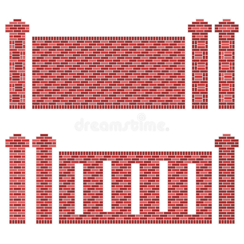 Maroon Brick Wall Patterns stock illustration