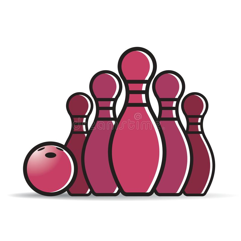 Maroon color bowl and pin stock illustration