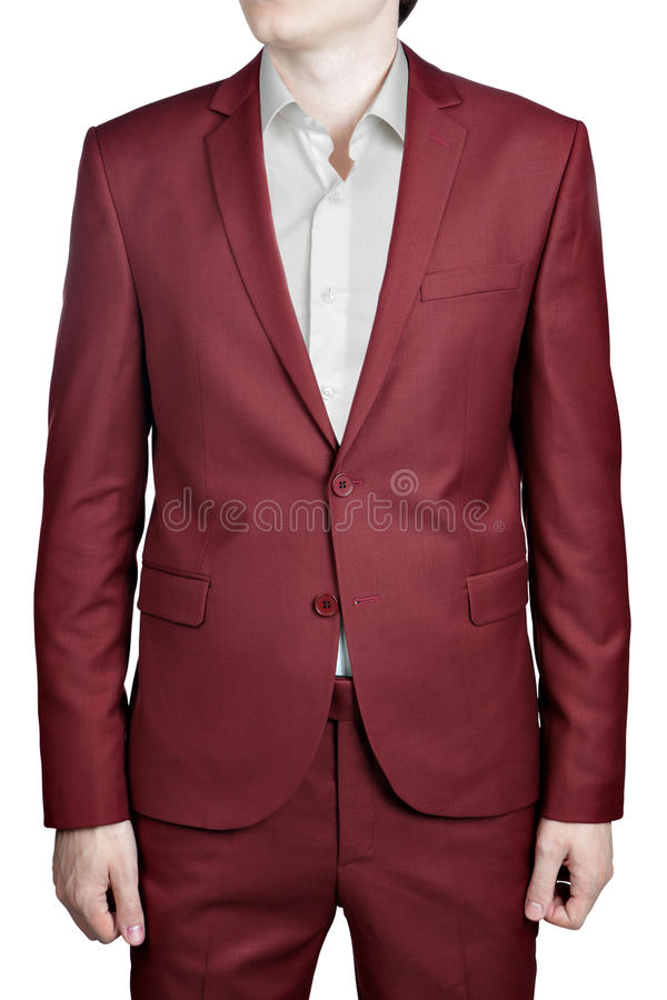 Maroon Color Prom Suit For Men, Isolated On White Background. Stock ...
