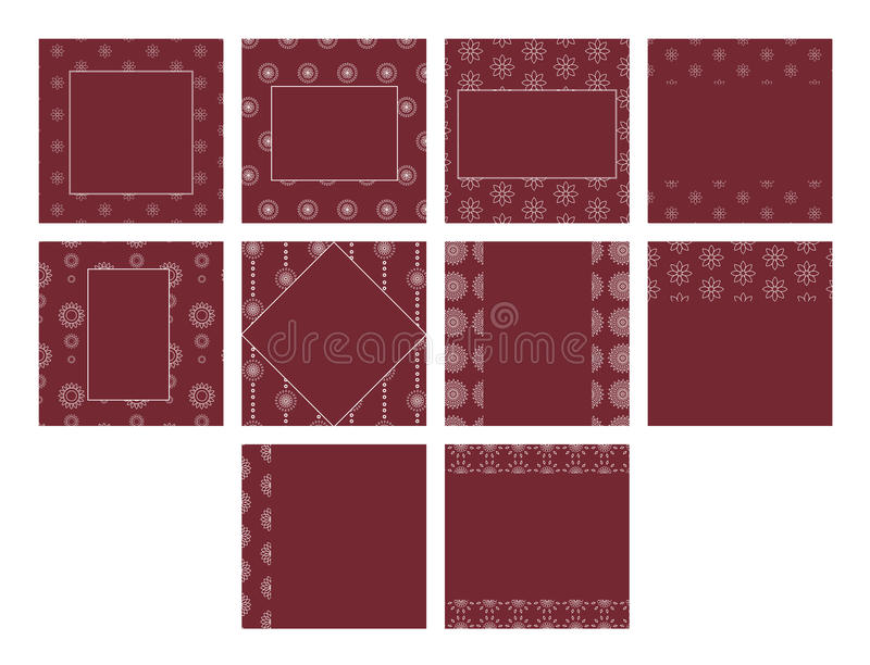 Maroon color vector templates with floral patterns stock illustration