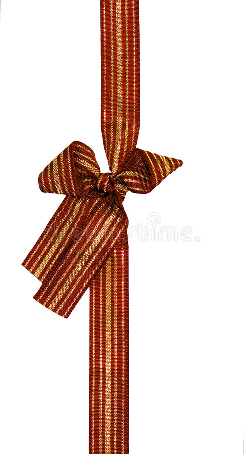 Maroon and gold gift ribbon and bow - isolated
