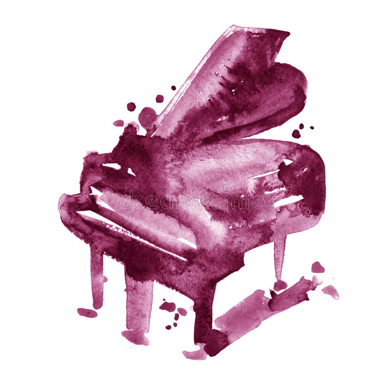 Maroon wine watercolor sketch grand piano on a white background royalty free illustration