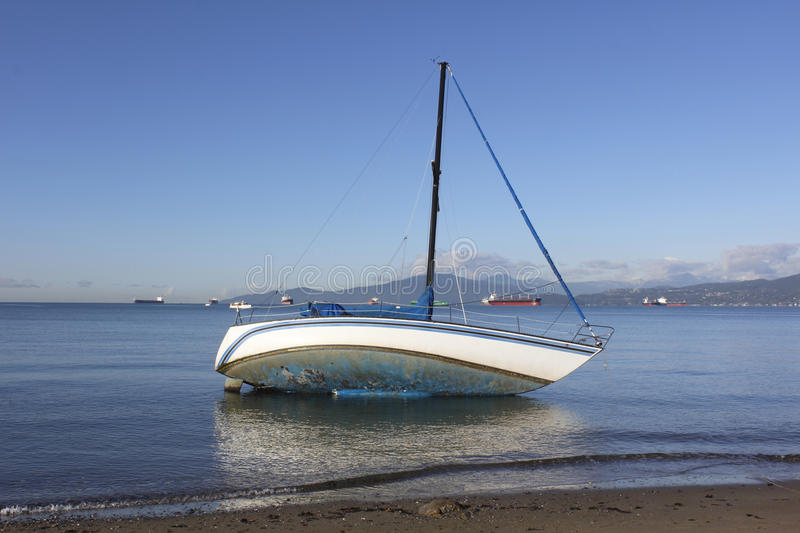 Download A Marooned Sailboat stock image. Image of abandoned, teetering - 22056353