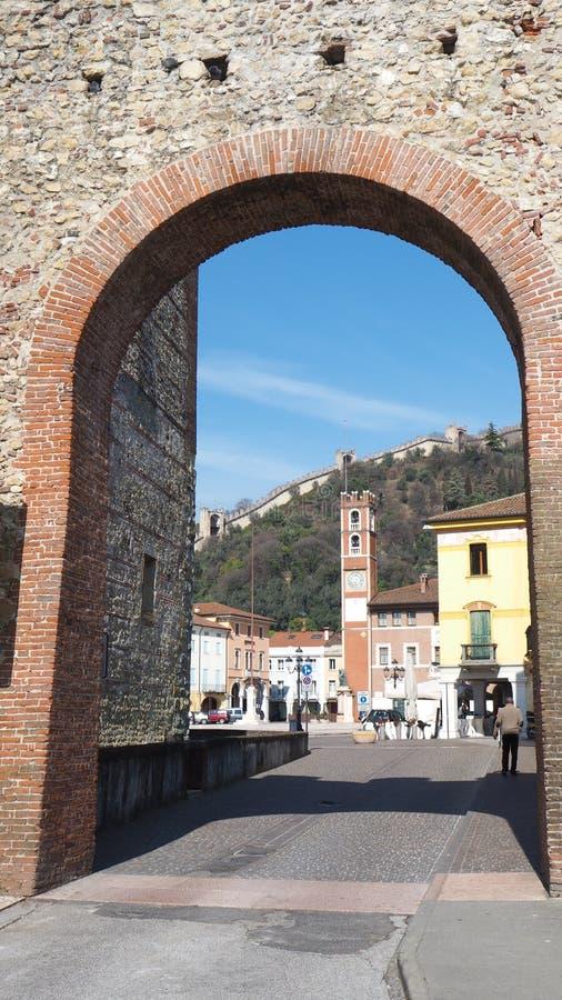 Marostica, Виченца, Италия Квадрат шахмат стоковое изображение rf