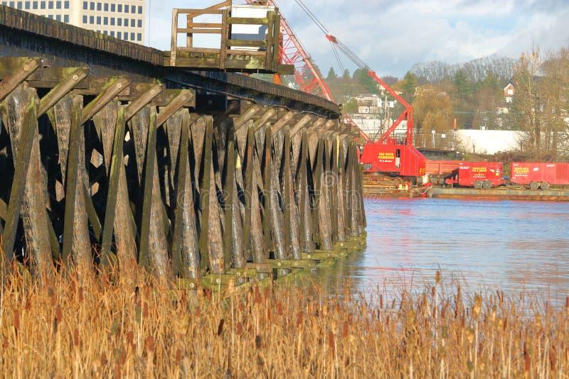 Marpole Huśtawkowy most w Vancouver, Kanada obrazy royalty free