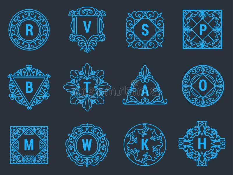 Marquage à chaud décoratif de nom personnel de cadre élégant floral de signe de conception d'ornement de vintage de logo d'emblèm illustration libre de droits