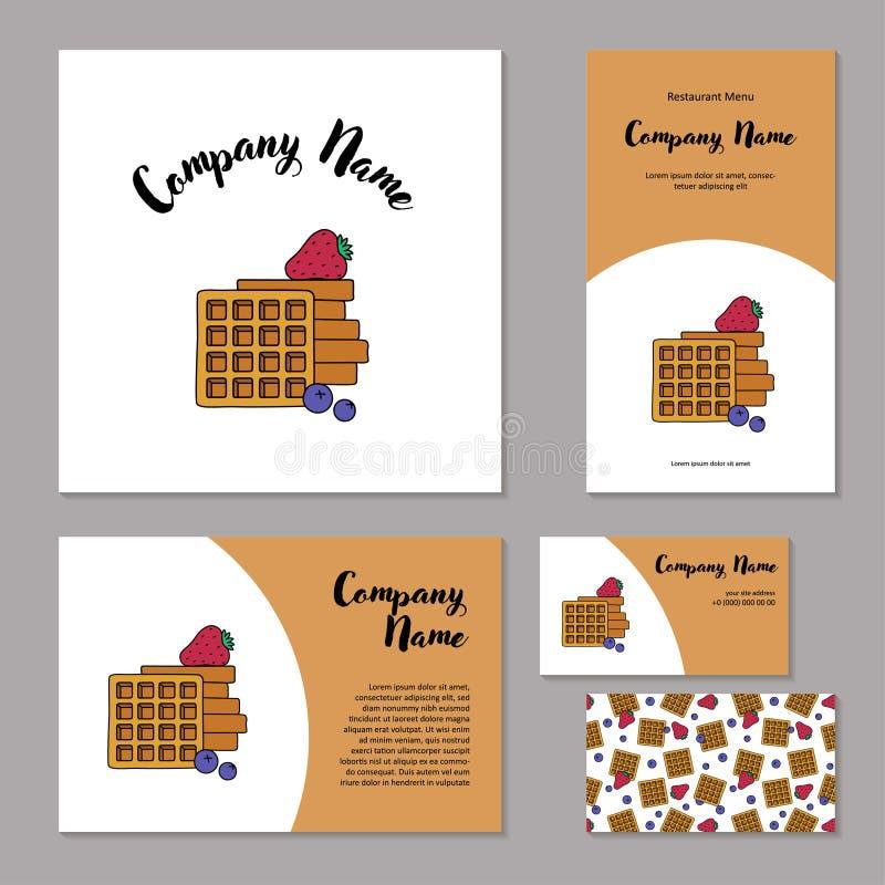 Marquage à chaud d'entreprise réglé Gaufres belges, fraises et myrtilles fraîches sur le fond blanc illustration stock