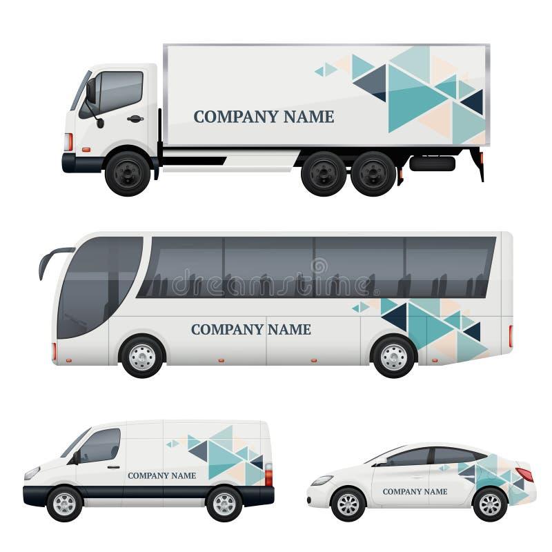 Marquage à chaud de véhicule Transport annonçant la maquette réaliste de vecteur d'bus truck van car illustration libre de droits
