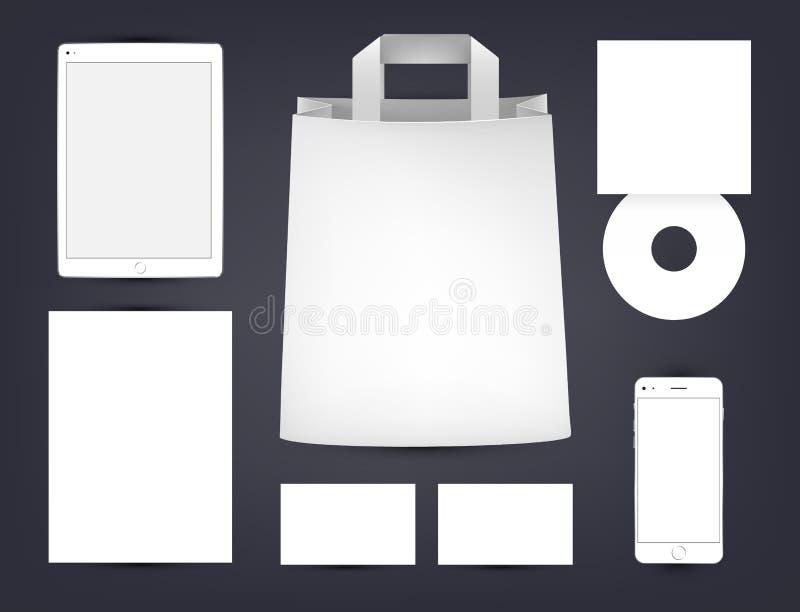 Marquage à chaud de vecteur, faisant de la publicité la moquerie  Conception d'identité Sac de papier, disque compact, téléphone, illustration libre de droits