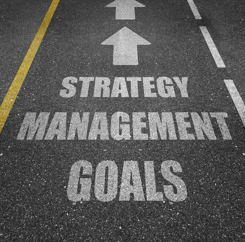 Marquage routier de buts de gestion de stratégie photo stock