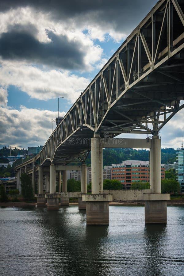 The Marquam Bridge over the Williamette River stock images