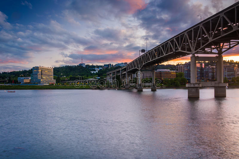 The Marquam Bridge at sunset, in Portland stock photography