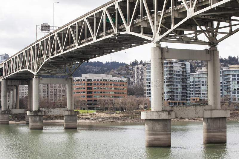 Marquam Bridge with Downtown Portland in the Background royalty free stock photo