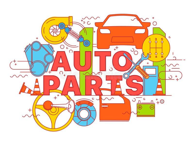 Marquant avec des lettres la ligne plate concepts de construction des pièces d'auto illustration libre de droits