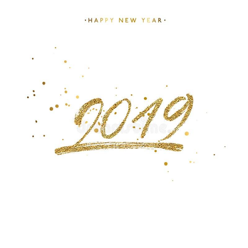 Or 2019 marquant avec des lettres avec les éclaboussures d'or d'isolement sur le fond blanc illustration stock