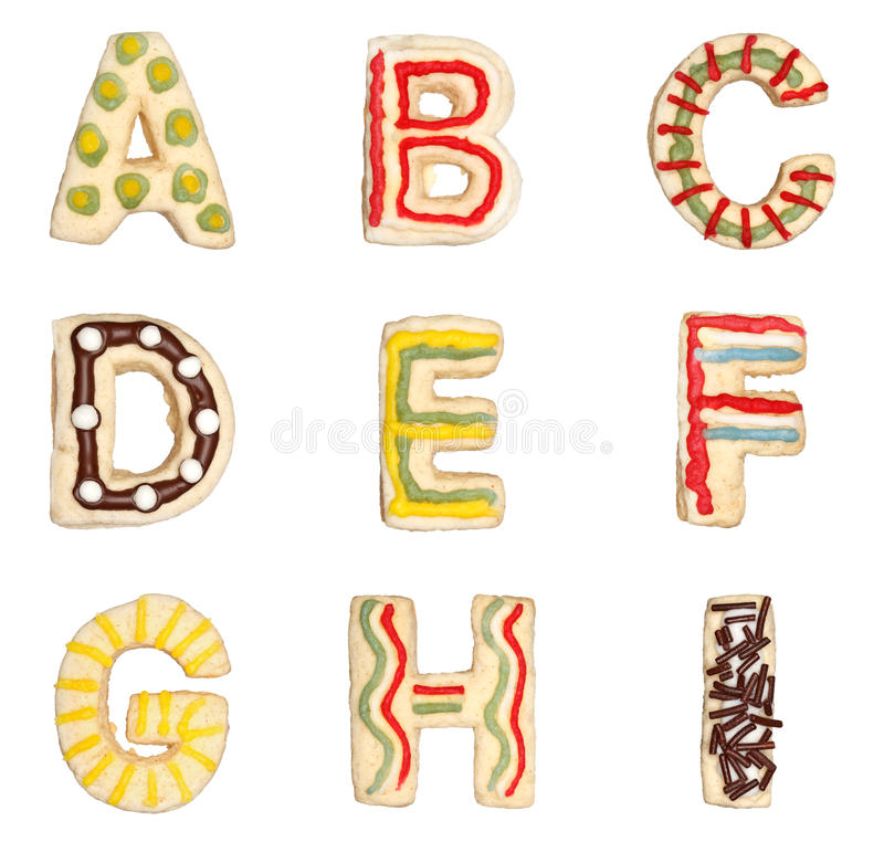 Marque avec des lettres A à I des biscuits décorés illustration de vecteur