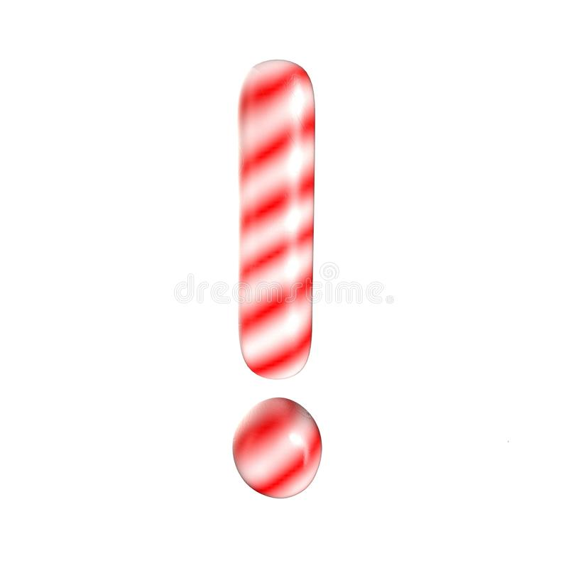 Marque blanche rouge d'exklemation de sucrerie d'isolement sur le fond blanc photographie stock libre de droits