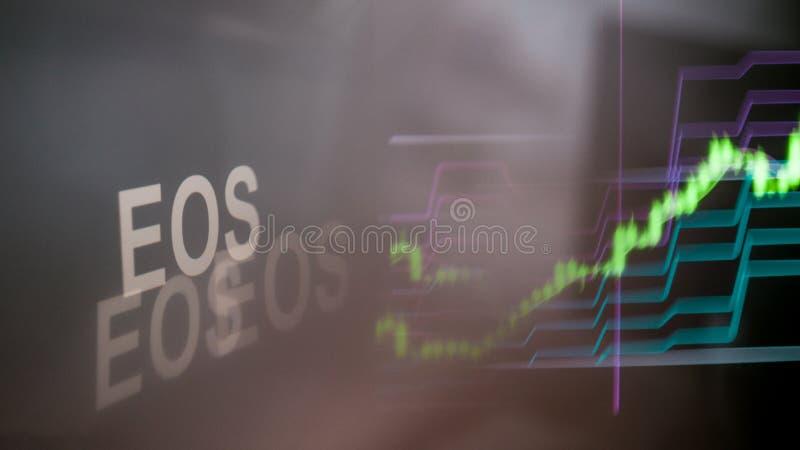 Marque d'EOS Cryptocurrency Le comportement des échanges de cryptocurrency, concept Technologies financières modernes images stock