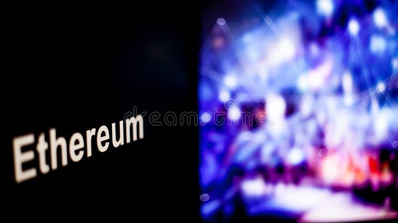 Marque d'Ethereum Cryptocurrency comportement des échanges de cryptocurrency, concept Technologies financières modernes photographie stock libre de droits