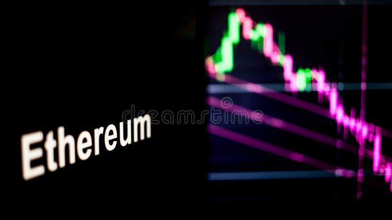 Marque d'Ethereum Cryptocurrency Le comportement des échanges de cryptocurrency, concept Technologies financières modernes photo stock