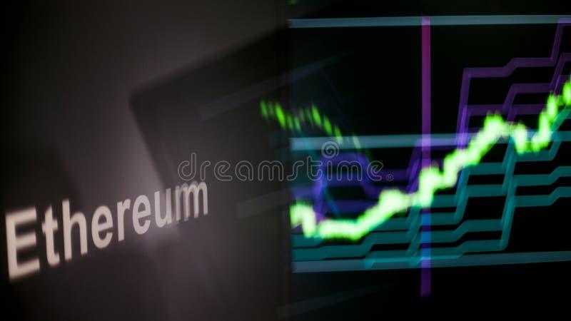 Marque d'Ethereum Cryptocurrency Le comportement des échanges de cryptocurrency, concept Technologies financières modernes photos stock