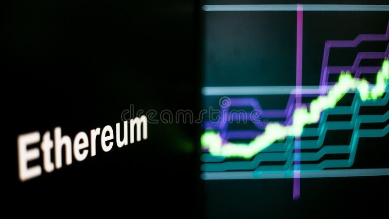 Marque d'Ethereum Cryptocurrency Le comportement des échanges de cryptocurrency, concept Technologies financières modernes image stock