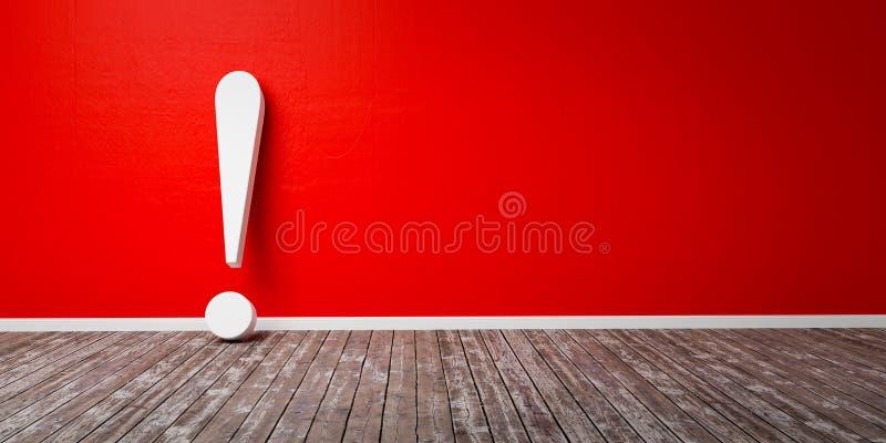 Marque d'exclamation blanche sur le concept d'avertissement d'illustration de plancher en bois et de mur en b?ton 3D illustration libre de droits