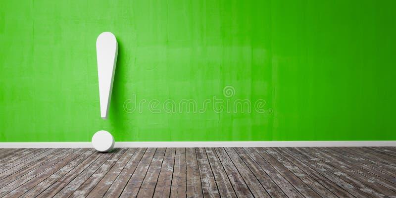 Marque d'exclamation blanche sur le plancher en bois et le concept d'avertissement d'illustration verte concrète du mur 3D photo stock