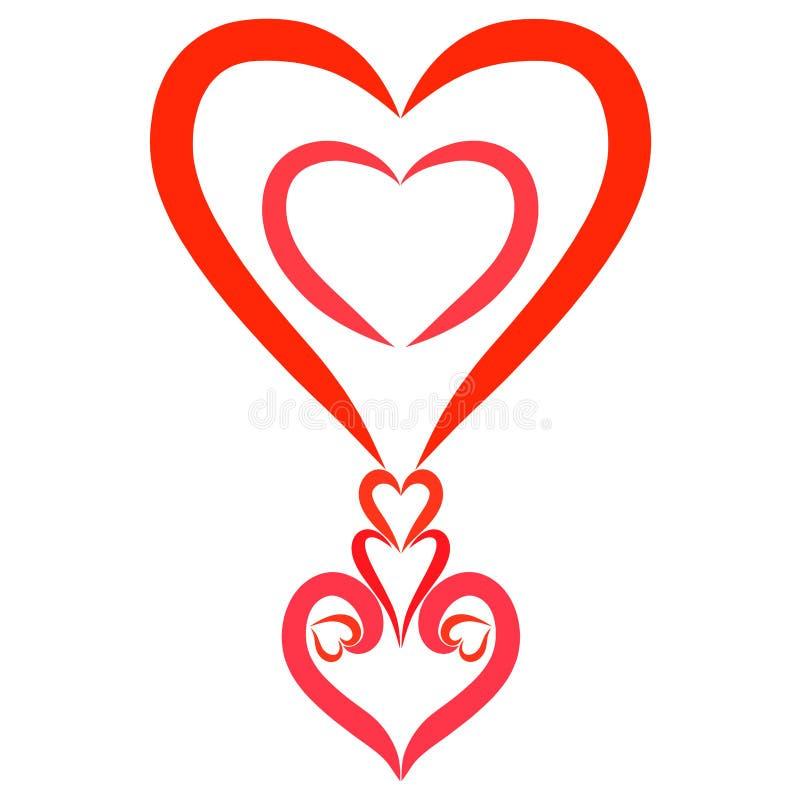 Marque d'exclamation romantique, modèle des coeurs, décor illustration de vecteur