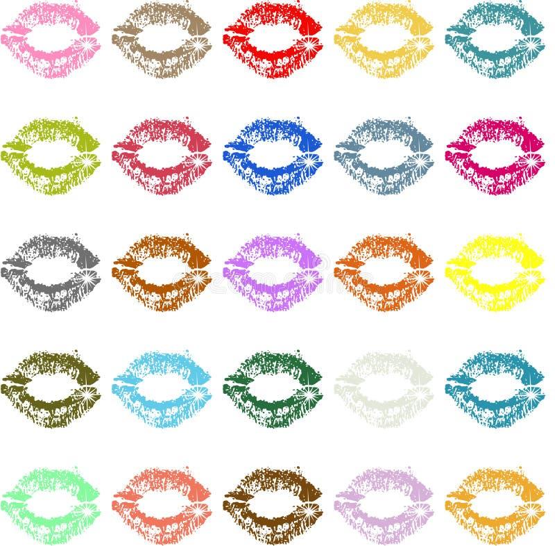 Marque de baiser de rouge à lèvres colorée illustration de vecteur