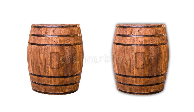Marque de baril de vin de chêne d'une icône de symbole d'ombre d'une tasse de bière sur un blanc photographie stock