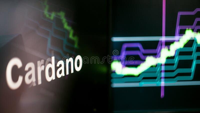 Marque de Cardano Cryptocurrency Le comportement des échanges de cryptocurrency, concept Technologies financières modernes images stock