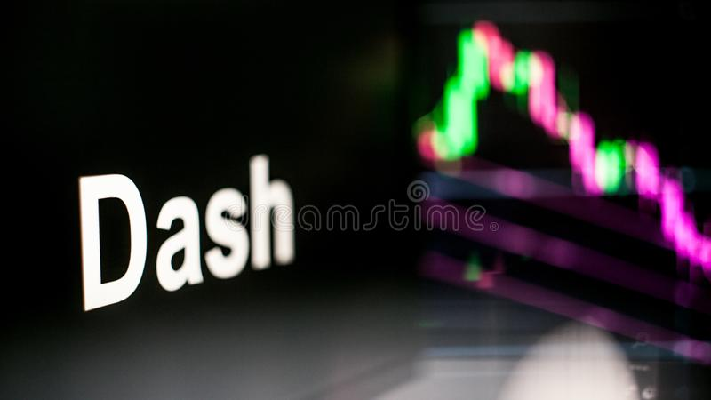 Marque de Cryptocurrency de tiret Le comportement des échanges de cryptocurrency, concept Technologies financières modernes images stock