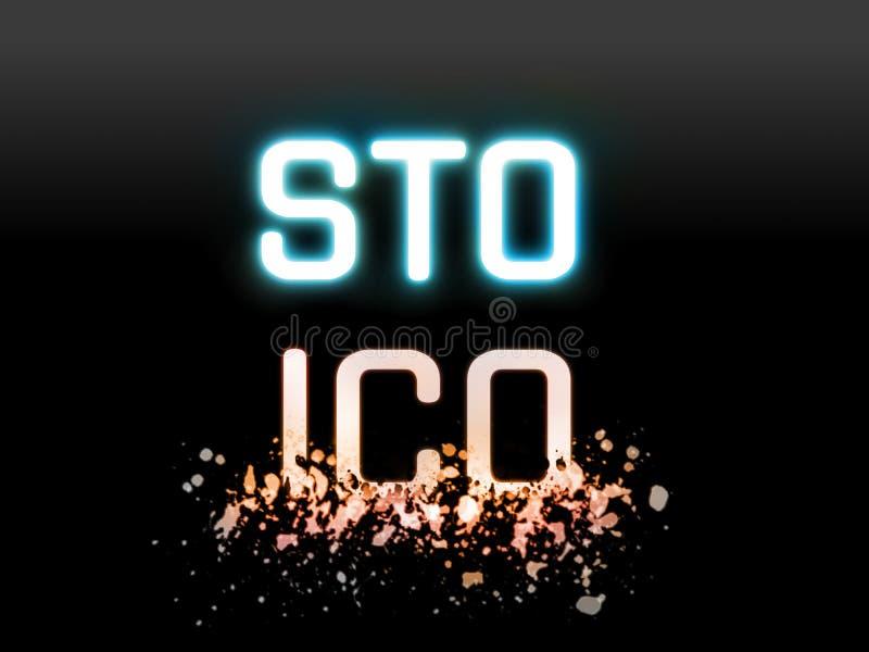 Marque de sécurité offrant STO contre la pièce de monnaie initiale offrant ICO comme nouvelle technologie de proposition pour la  illustration stock